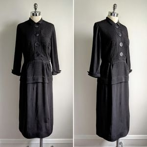 vintage 40's rayon pleated wiggle dress in black